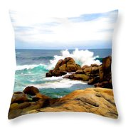 Waves Crashing On Shoreline Rocks Throw Pillow
