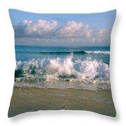 Waves Crashing On The Beach, Varadero Throw Pillow