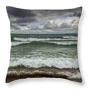 Waves Crashing On The Shore In Sturgeon Bay At Wilderness State Park Throw Pillow