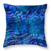 Waves Of Blue - Abstract Art Throw Pillow
