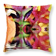 Waves Of Color Throw Pillow by Judy Palkimas
