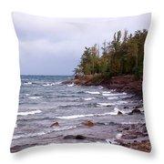 Waves Of Lake Superior Throw Pillow
