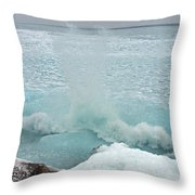Waves Of Pancake Ice Crashing Ashore Throw Pillow