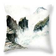 Waves On The Rocks Throw Pillow