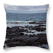 Waves Over  Rocks Throw Pillow