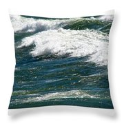 Waves Triptych Ll Throw Pillow