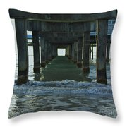 Waves Under The Clearwater Pier 60 Throw Pillow