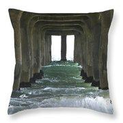Waves Under The Pier Landscape Throw Pillow