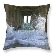 Waves Under The Pier Portrait Throw Pillow