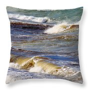 Waves - Wind - Fury Of The Sea Throw Pillow