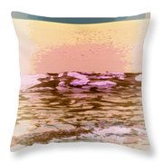 Waves With Sunset Throw Pillow