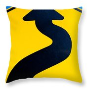 Wavy Arrow Concept Of Winding Road To Success Throw Pillow