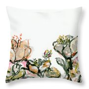 Wavy Flowers Throw Pillow