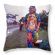 Wavy Gravy At Woodstock Throw Pillow by Chuck Spang