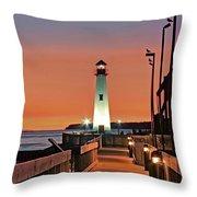 Wawatam Lighthouse Sunrise Throw Pillow