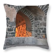 Way To The Fireplace Throw Pillow