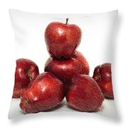 We Are Family - 6 Red Apples - Fresh Fruit - An Apple A Day - Orchard Throw Pillow