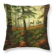 We Know That Stags Here Somewhere Throw Pillow