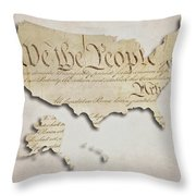We The People - Us Constitution Map Throw Pillow
