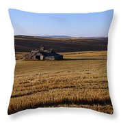 Weathered Barn In Field Throw Pillow