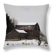 Weathered Barns In Winter Throw Pillow