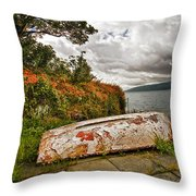 Weathered Boat Throw Pillow