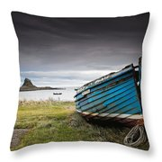 Weathered Boat On The Shore Throw Pillow