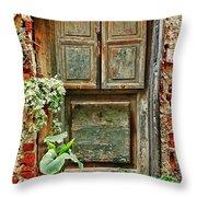 Weathered Door Throw Pillow