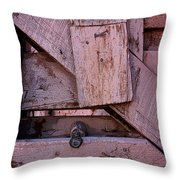 Weathered Gate With Lock And Chain Throw Pillow