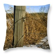 Weathered Old Fence Post Throw Pillow