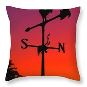 Weathervane At Sunset Throw Pillow