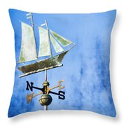 Weathervane Clipper Ship Throw Pillow by Carol Leigh