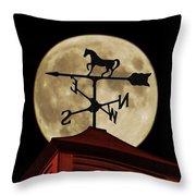 Weathervane Before The Moon Throw Pillow