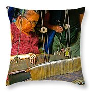 Weaver At Her Loom In Tachilek-burma Throw Pillow