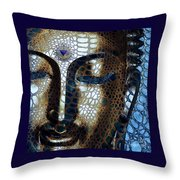 Web Of Dharma - Modern Blue Buddha Art Throw Pillow