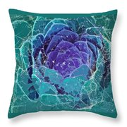 Webbed Succulent In Teal Tones Throw Pillow