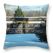 Webster Park Sign Throw Pillow