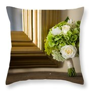 Wedding Bouquet And Mirror Throw Pillow