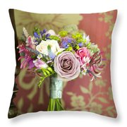 Wedding Bouquet And Vintage Wallpaper Throw Pillow