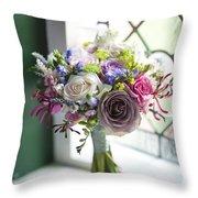 Wedding Bouquet Near A Window Throw Pillow