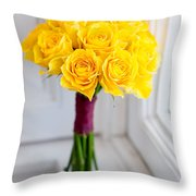 Wedding Bouquet Of Yellow Roses Throw Pillow