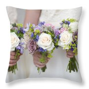 Wedding Bouquets Held By Bridesmaids Throw Pillow