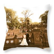 Wedding In Central Park Throw Pillow