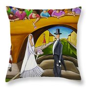 Wedding On Barge Throw Pillow