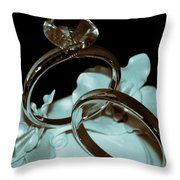 Wedding Ring Cake Topper Cyan Throw Pillow