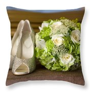 Wedding Shoes And Flowers Bouquet Throw Pillow