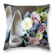 Wedding Shoes And Flowers Throw Pillow