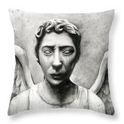 Weeping Angel Don't Blink Doctor Who Fan Art Throw Pillow