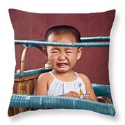 Weeping Baby In His Buggy Throw Pillow