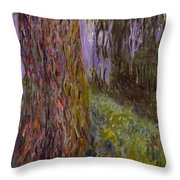 Weeping Willow And The Waterlily Pond Throw Pillow